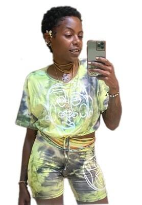 'Face Yourself' Tie Dye Drawstring Short Set