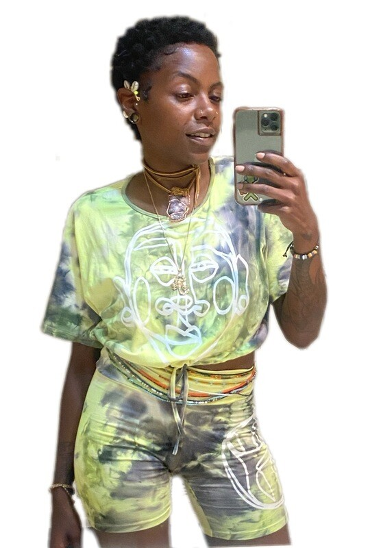 'Face Yourself' Tie Dye Drawstring Short Set
