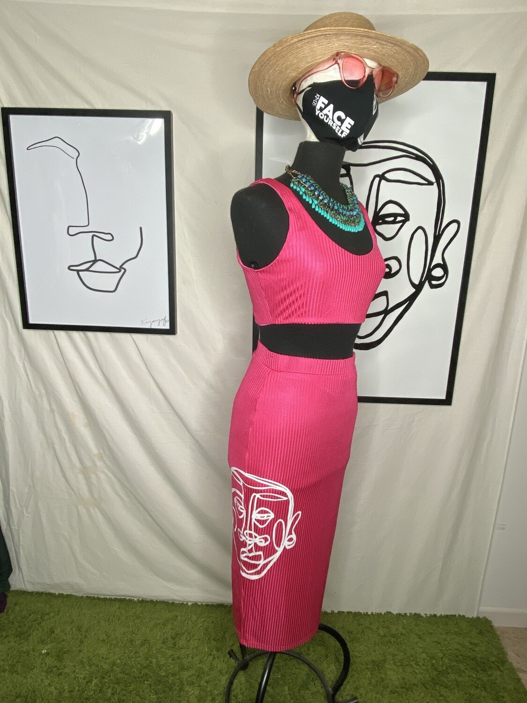 'Face Yourself' Pencil Skirt Set