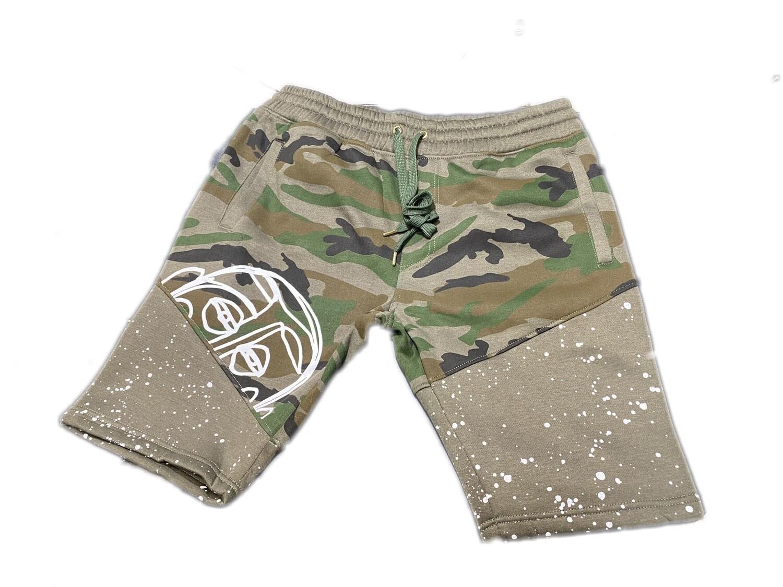'Face Yourself' Camo Splatter Shorts