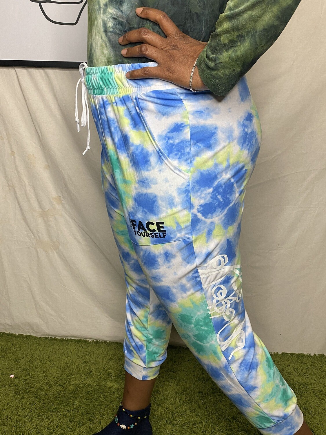 'Face Yourself' Tie Dye Pants