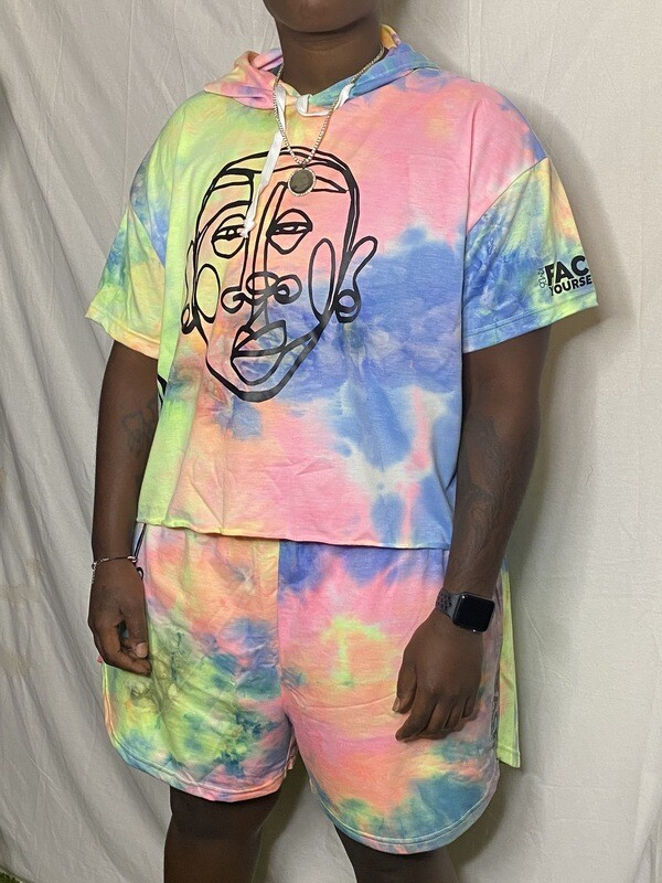 'Face Yourself' Plus Size Tie Dye Hoodie Set