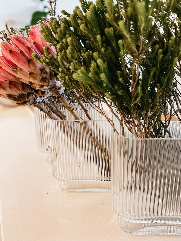 Fluted Rectangle Glass Vase