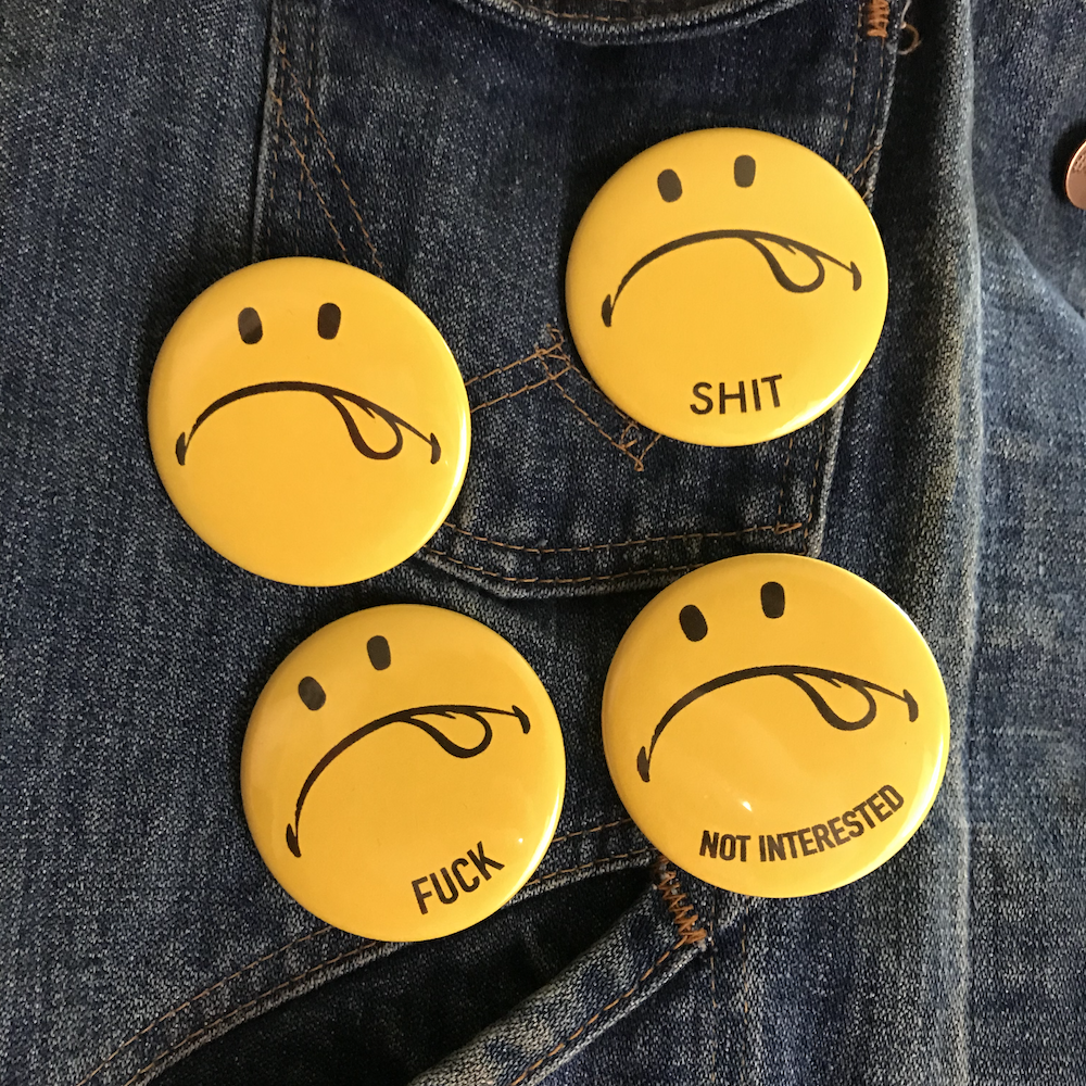 Frowny Face Button/Magnet/Bottle-opener