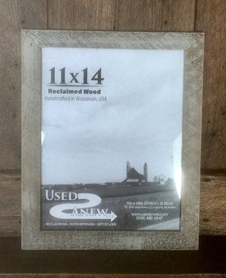 (11x14) Reclaimed Skip Planed Wood Picture Frame Fully Assembled