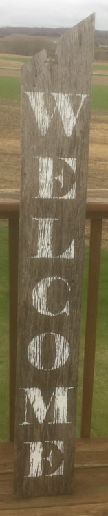 Welcome Sign On Rustic Grey Barn Siding #1