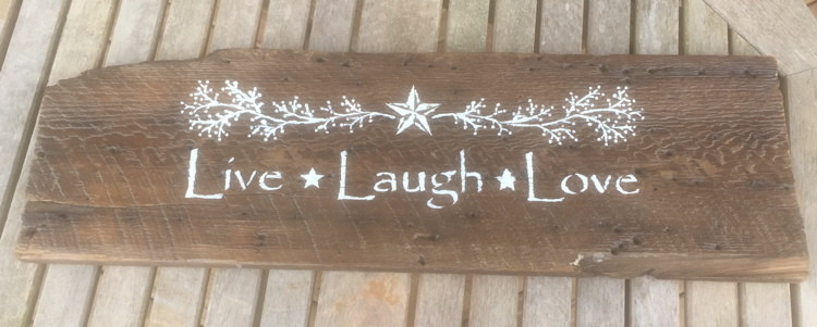 Live - Laugh - Love Sign on Reclaimed Naily Wood
