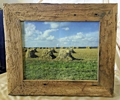 Color Landscape Photograph of Amish Farm in Barnwood Frame