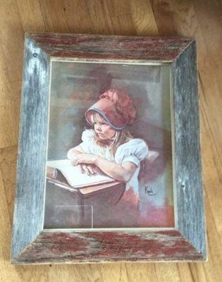 Pioneer School Girl Print By Sandra Kuck Reframed In Red And Gray Barnboard