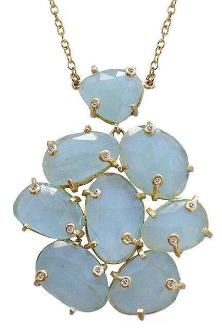 Aquamarine Slice Necklace