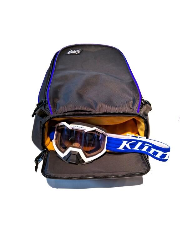 Кофр на тоннель снегохода с карманом под очки (синий)