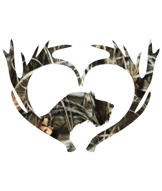 Foliemærke - Gevir hjerte med hund camouflage