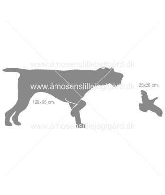 Udskåret dyr i jern - Tysk Ruhåret Hønsehund i stand m. fugl