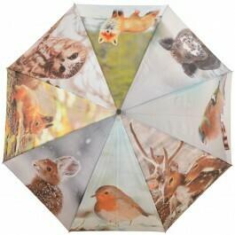 Paraply med print af forskellige vilde dyr