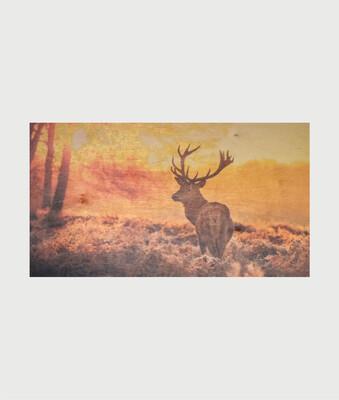 Billede i træ med hjort