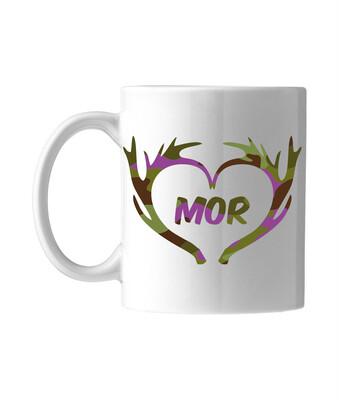 Krus med camouflage motiv - Vælg selv navn i lilla