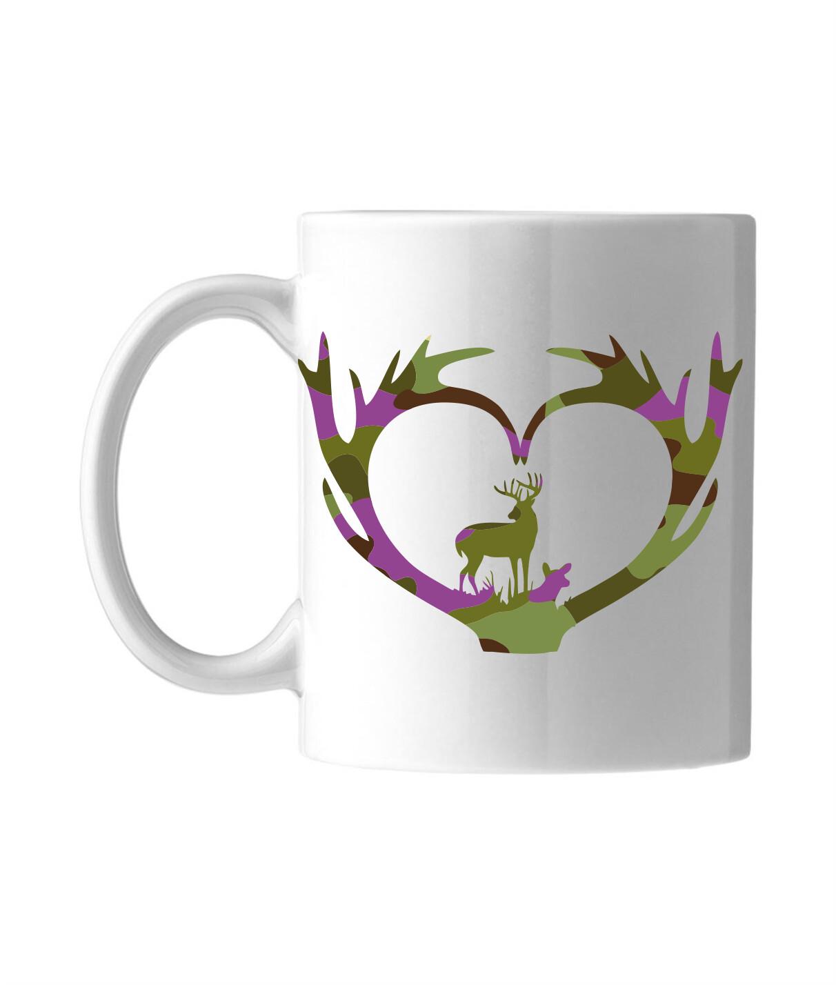 Krus med camouflage motiv - Kronhjorte i lilla
