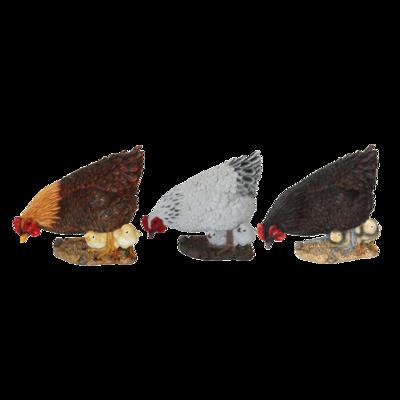 Havefigur - Høne med kyllinger