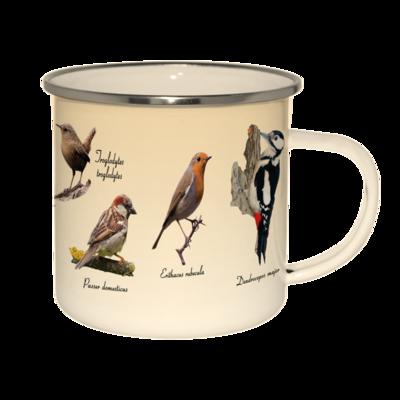 Emaljekrus med print af forskellige fugle