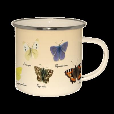 Emaljekrus med print af forskellige sommerfugle