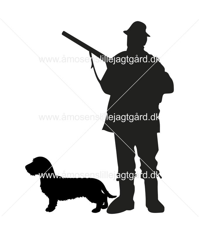 Foliemærke - Jæger med Ruhåret Gravhund