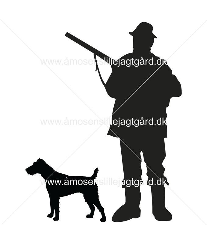 Foliemærke - Jæger med Tysk Terrie