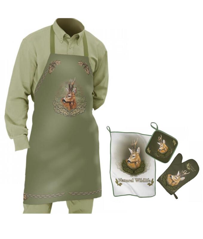 Sammenpak med tryk af Buk - Forklæde og køkkensæt