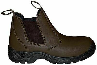 Læder støvle i brunt læder