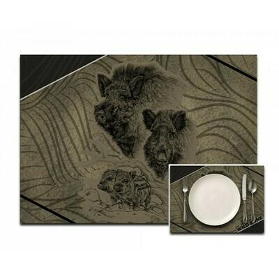 Dækserviet med print af Vildsvin