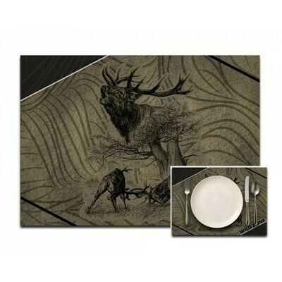 Dækserviet med print af Kronhjorte