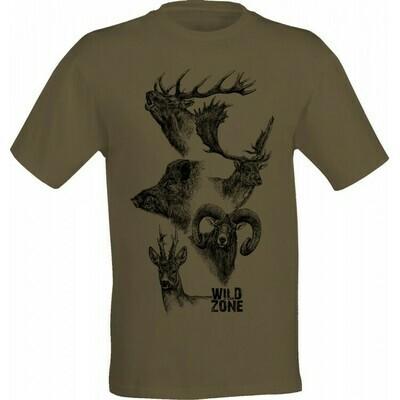 Wild Zone T-shirt med print af de 5 største jagtdyr