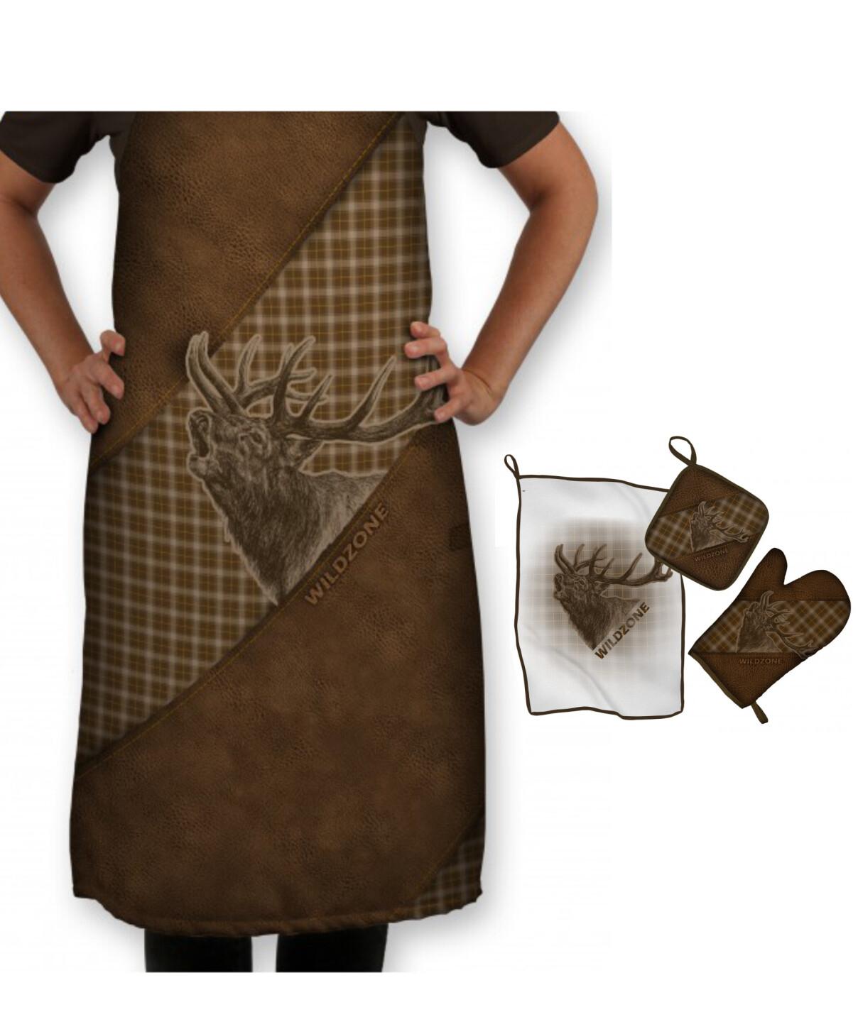 Sammenpak med tryk af Kronhjort - Forklæde og køkkensæt