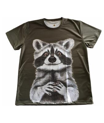 Fuldfarvet T-shirt med Sus Hjorth motiv - Vaskebjørn