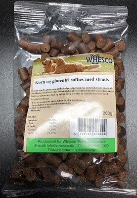 Bløde godbidder, snacks med struds 200 gram.