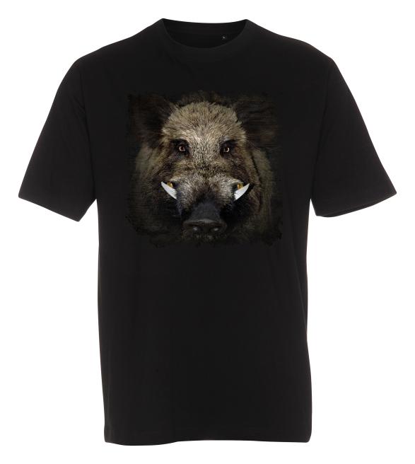 T-shirt med tryk fra XS til str. 4-XL - Vildsvin