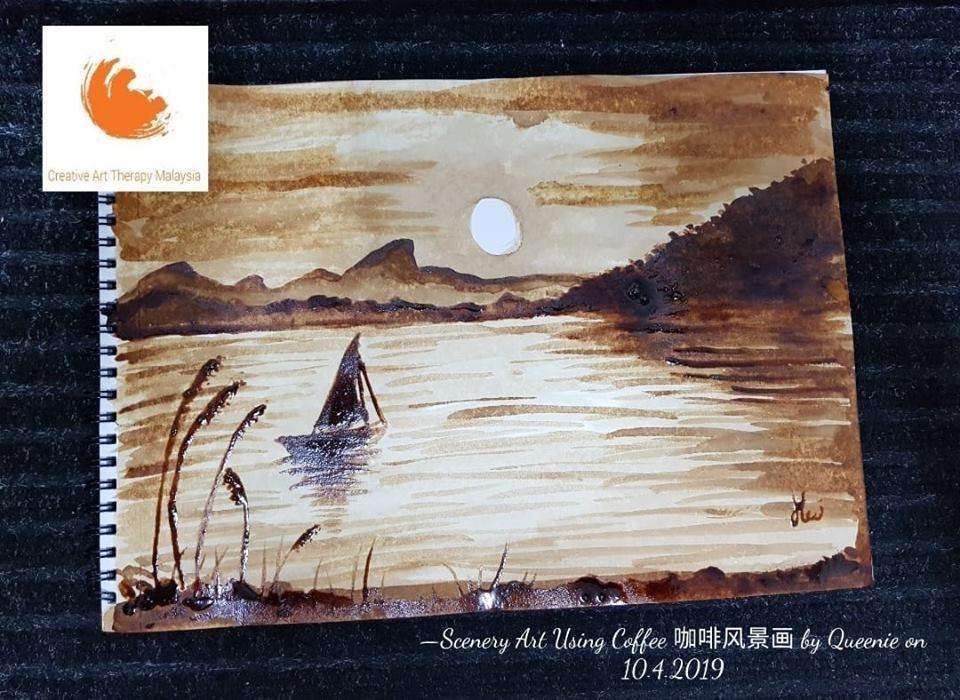 Scenery Art Using Coffee 咖啡风景画