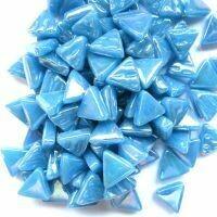Glass Triangles 10mm: Iridised lake blue