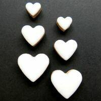 Ceramic hearts, white