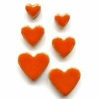 Ceramic hearts, orange