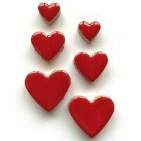 Ceramic hearts, poppy red