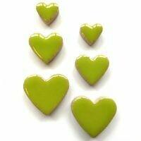Ceramic hearts, kiwi