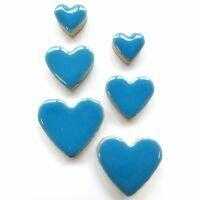 Ceramic hearts, thalo blue
