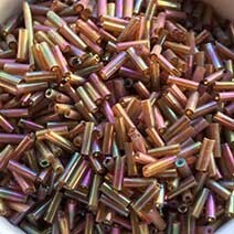 AB colour bugle bead - Indian Red