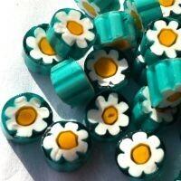 Millefiori: Teal/yellow flower