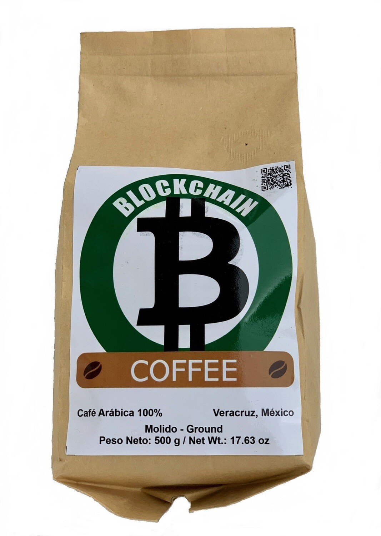 500 gramos BLOCKCHAIN COFFEE Café Arábica 100 % Molido