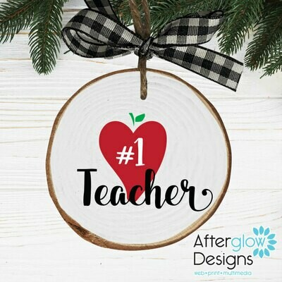 """#1 TEACHER"" PERSONALIZED WOOD ORNAMENT"