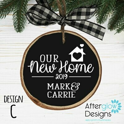"""OUR NEW HOME"" PERSONALIZED WOOD ORNAMENT DESIGN C"
