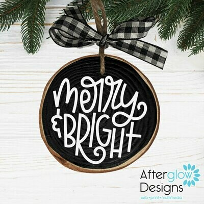 """Merry & Bright"" Wood Ornament"