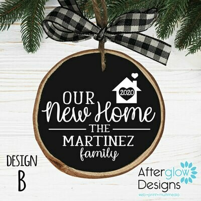 """OUR NEW HOME"" PERSONALIZED WOOD ORNAMENT DESIGN B"