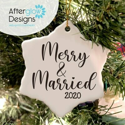 """Merry & Married"" Snowflake Ornament"
